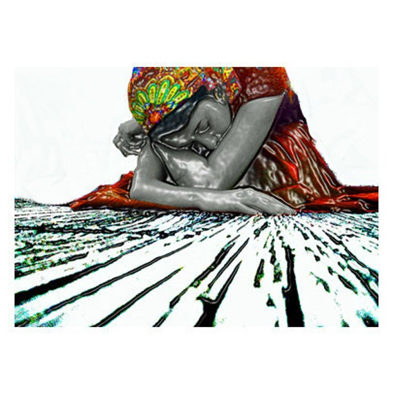 ACEO Hibernate - original digital art plus 5 x 7 mat