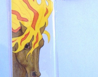Fantasy Fire Horse Bookmark in Jacket from original art by Gail Ragsdale
