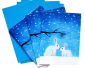 Christmas Bunnies Stationery Set of 4 Cards