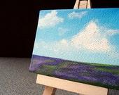 Original Purple Wildflowers Acrylic Mini Painting