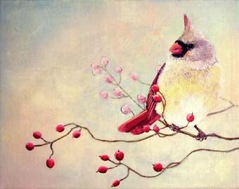 Art Print - Female Cardinal Bird with Winter Berries, No. 3