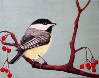 Art Print - Chickadee and Winter Berries, No.2