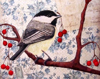 Art Print - Chickadee and Winterberries - Special Delivery - 8x8