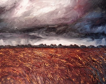 Storm-Tossed Harvest - Original Oil painting - Abstract Landscape Art - 11x14