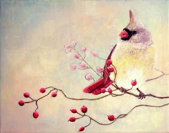 Art Print - Female Cardinal Bird with Winter Berries, No. 3