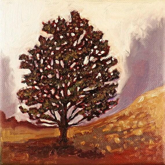 The Old Oak Tree -Original oil - landscape painting - 6x6