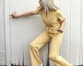 Killer Butter Yellow Vintage 1970s Charlies Angels Jumpsuit Costume