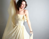 Darling Vintage Light Lemon Yellow Strapless Ball Gown - Clear and Gold Sequins - Boned Corset Top - XS