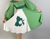 Vintage Kelly Green White Leprechaun Theater Dress with Gigantic Sleeves