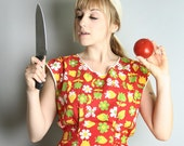 Adorable Fruits and Flowers Bright Red Vintage Kitchen Apron