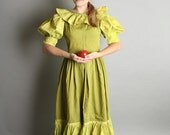 Vintage Prairie Dress Olive Green Polka Dots and Ruffles Girl Dolly Medium Harvest