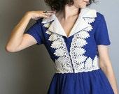 Royal Blue 1970s Oscar De La Renta vintage Mini Dress - Small XS