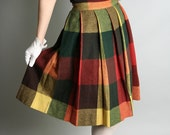 Vintage Plaid Wool Skirt Studious Colorful Red