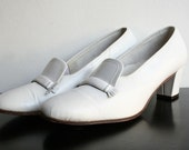 Marshmallow White Vintage Locke Leather Majorette Shoes - Size 7.5 US