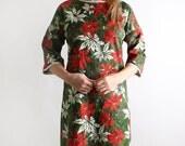 Vintage Holiday Fashion Dress Poinsettia Handmade Maxi Floral Garden - Medium