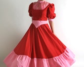 RESERVED - Vintage Red Princess Dress - Queen of Hearts Maxi Gown - Medium Homecoming Queen