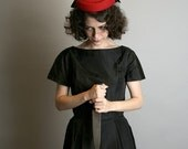 Vintage Little Black Dress - Classic Knife Vixen with Red Lining - The Butcher - XS Small