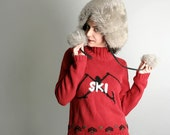 Vintage Ski Sweater - Snow Bunny Sport in Crimson Red - Small