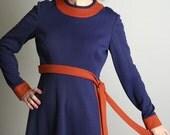 Late 1960s Dress vintage Anne Fogarty Navy Blue and Tangerine Dress Sodalite Indigo