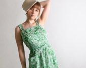 Vintage Branigans Sundress Grass Green Floral Print Dress - Small to Medium Spring Fashion