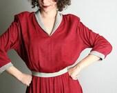 Vintage Maroon Dress Heather Gray Pleated Debby Dress - Large - Burgundy Dark Grey - Preppy Style