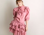 Vintage Ruffle Dress Cotton Candy Pink 1980s Flirty Fun Triple Tuxedo Dolly Dress - Medium