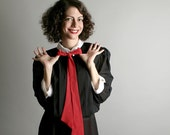 Vintage Wednesday Addams Dress 1980s Secretary Dress Black Pleated Teacher Large - Office Fashion