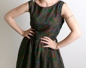 Vintage Paisley Holiday Party Dress - Dark Forest Green Peacock Vintage - Large - Autumn Fall Fashion