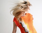 Vintage Tangerine 1980s Abstract Sweater Top - Orange Knotted Texture Lightning - Medium to Large