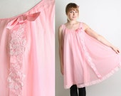 Vintage Babydoll Slip - Spring Cotton Candy Pink Pastel Nightie Sheer Slip with Lace Ribbon Bow