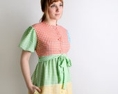 Vintage Rainbow Maxi Dress Candy Color Checkered - Small to Medium