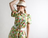 1960s Apple Dress - Tent Shape Colorful Citrus Fruit Print - Fits up to Large Spring Fashion