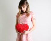 1960s Vintage Twiggy Dress - Cotton Candy Pink Floral Day Dress - Medium