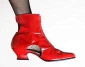 Vintage Cut Out Boots - Lipstick Red Badass Rocker Boots - Size US 7