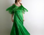 Vintage Lilli Diamond Maxi Dress and Cape with Wild Fringe - Large XL