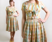 1950s Plaid Dress - Pastel Candy Color Rainbow and White Day Dress - Small to Medium