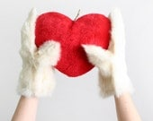 Vintage Fur Mittens - Ivory White Furry Paws christmasinjuly cij sale