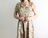 1950s Day Dress - Vintage Floral Print Watercolor Spring Fashion Dress - Large
