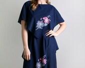 Vintage 1970s Dress - Navy Blue Flower Bouquet by Gilberti - Medium Indigo