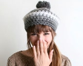 Vintage Knit Beret - Shades of Grey and White - Japanese Favorette Autumn Winter Crochet