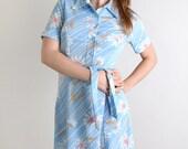 Vintage 1970s Floral Dress - Sky Blue and White Flower Button Up Shirtdress - Medium