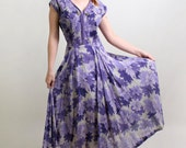 Vintage 1940s Floral Dress - Light Lavender Garden Party Maxi Dress - Large