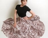 Vintage Circle Skirt in Manhattan NYC Print - Sepia Brown - Small to Medium christmasinjuly cij sale
