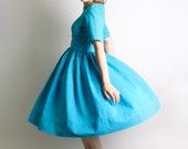 1950s Day Dress - Vintage Handmade Bright Sky Blue Teal Classic Dress - Medium to Large