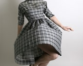 1950s Dress Plaid Vintage Black and White Casual Plaid Day Dress - Medium - Atomic Mid Century