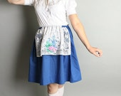 Vintage Country Skirt Floral Print Royal Blue Mini Apron Skirt - Medium Prairie Garden Fashion Harvest