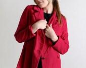 Vintage Raspberry Coat - Button Up Velvet Like Blazer - Large Autumn Fall Fashion