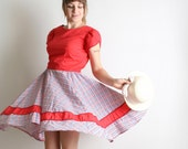 Vintage Lolita Patio Dress - Square Dance Full Circle Skirt in Plaid - Cotton Medium Prairie