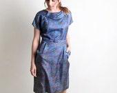 Vintage Paisley 1950s 1960s Wiggle Style Dress - Medium to Large