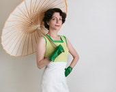 Vintage 1970s Dress - Citrus Lemon Lime Tennis Style Dress - XS